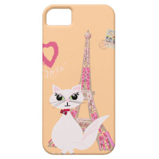 Gato lindo de París del amor de I Funda Para iPhone 5 Barely There