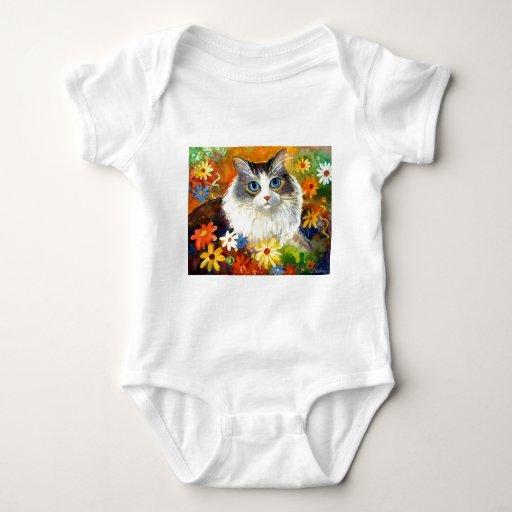 Gato lindo de Ragdoll con las flores Body Para Bebé