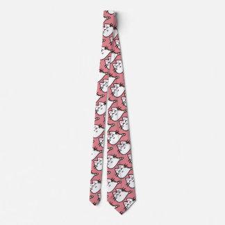 Gato lindo del animado corbata personalizada