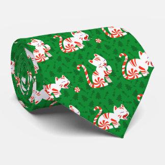 Gato lindo del bastón de caramelo corbata