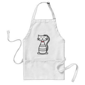 Gato lindo del blanco de Stripey Delantal