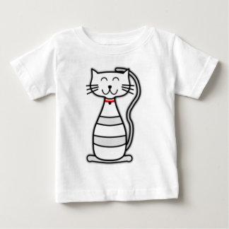 Gato lindo del blanco de Stripey Playera Para Bebé