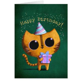Gato lindo del cumpleaños tarjeta de felicitación