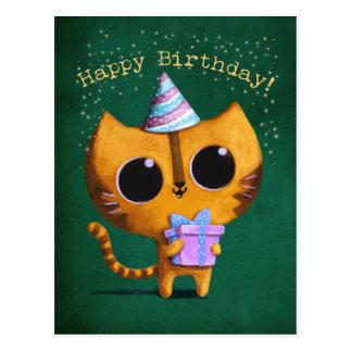Gato lindo del cumpleaños tarjeta postal