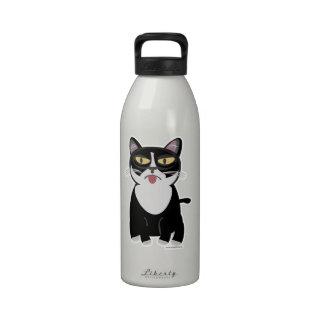 Gato lindo del dibujo animado de Sourpuss Botella De Beber