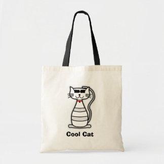 Gato lindo del dibujo animado del gato fresco con bolsa tela barata