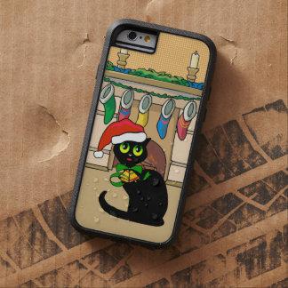 Gato lindo del dibujo animado del navidad funda de iPhone 6 tough xtreme
