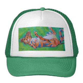 Gato lindo del dibujo animado que miente encendido gorras