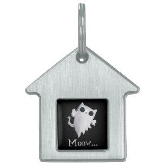 Gato lindo del fantasma de Halloween Placas De Nombre De Mascota