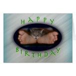 Gato lindo del feliz cumpleaños en los pies de Cas Tarjetón