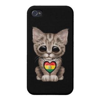 Gato lindo del gatito con el corazón boliviano de  iPhone 4 cárcasa