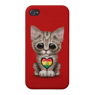 Gato lindo del gatito con el corazón boliviano de  iPhone 4 cobertura