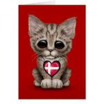 Gato lindo del gatito con el corazón danés de la b felicitacion