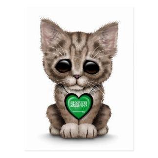 Gato lindo del gatito con el corazón de Arabia Sau Postal