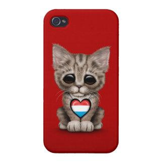 Gato lindo del gatito con el corazón de la bandera iPhone 4 funda