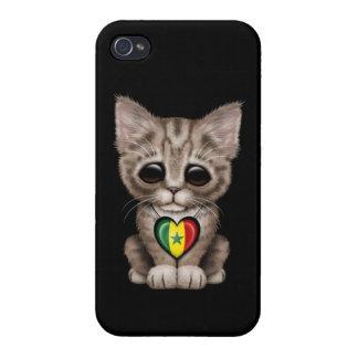 Gato lindo del gatito con el corazón de la bandera iPhone 4/4S funda