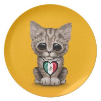 Gato lindo del gatito con el corazón de la bandera plato de cena