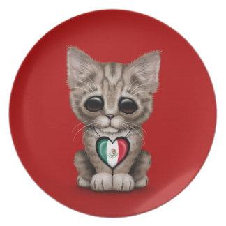 Gato lindo del gatito con el corazón de la bandera platos de comidas