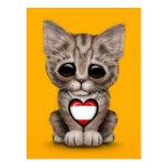 Gato lindo del gatito con el corazón de la bandera tarjetas postales