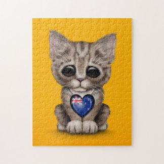 Gato lindo del gatito con el corazón de Nueva Zela Rompecabezas