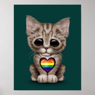 Gato lindo del gatito con el corazón del orgullo g impresiones