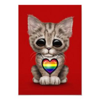 """Gato lindo del gatito con el corazón del orgullo invitación 3.5"""" x 5"""""""