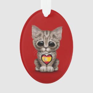 Gato lindo del gatito con el corazón español de la