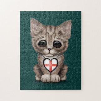 Gato lindo del gatito con el corazón inglés de la  puzzles
