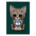 Gato lindo del gatito con el corazón israelí de la tarjeton