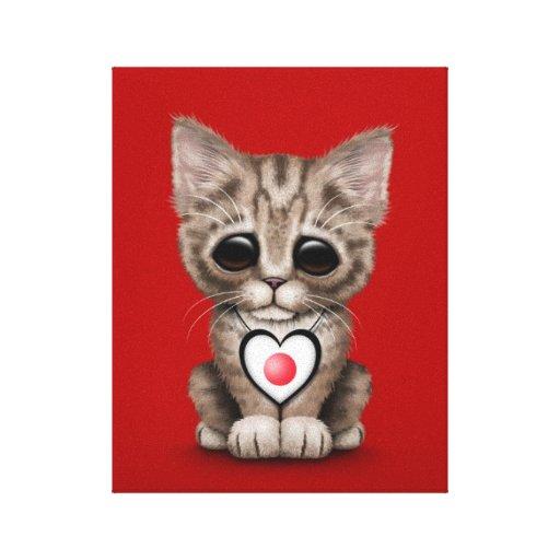 Gato lindo del gatito con el corazón japonés de la impresiones en lienzo estiradas