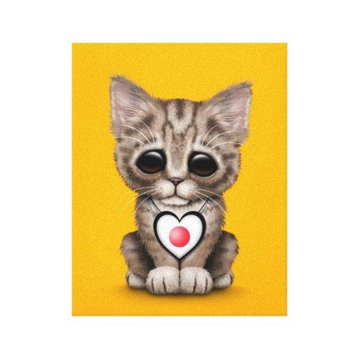 Gato lindo del gatito con el corazón japonés de la impresión de lienzo