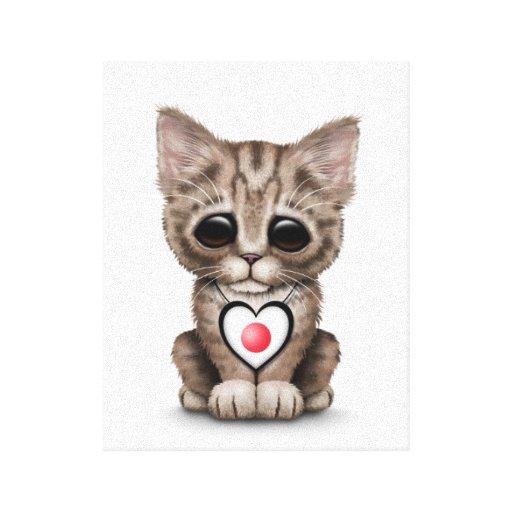 Gato lindo del gatito con el corazón japonés de la impresiones en lona