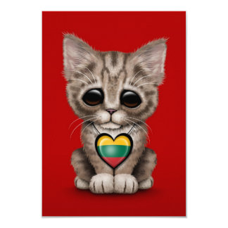 Gato lindo del gatito con el corazón lituano de la invitación 8,9 x 12,7 cm
