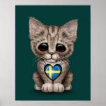 Gato lindo del gatito con el corazón sueco de la b impresiones