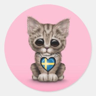 Gato lindo del gatito con el corazón sueco de la b pegatinas