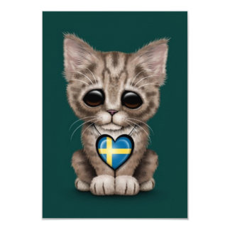 Gato lindo del gatito con el corazón sueco de la anuncios personalizados