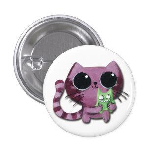 Gato lindo del gatito con el pequeño monstruo chapa redonda 2,5 cm