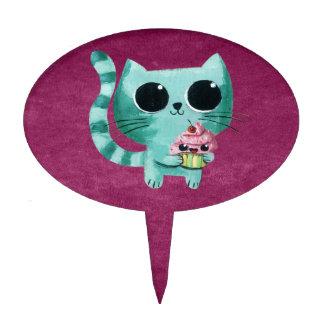Gato lindo del gatito con la magdalena de Kawaii Figura Para Tarta