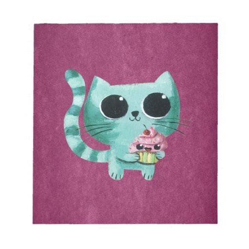 Gato lindo del gatito con la magdalena de Kawaii Bloc De Notas