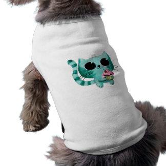 Gato lindo del gatito con la magdalena de Kawaii Camiseta Sin Mangas Para Perro