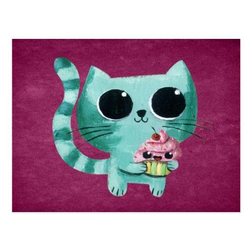 Gato lindo del gatito con la magdalena de Kawaii Tarjeta Postal