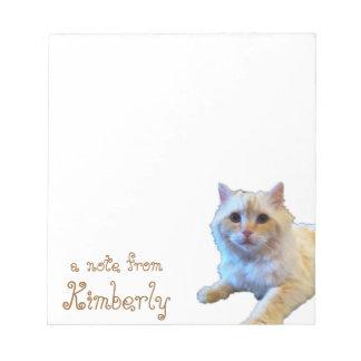 Gato lindo del gatito personalizado bloc de papel