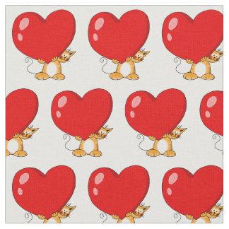 gato lindo del jengibre con el corazón rojo grande telas