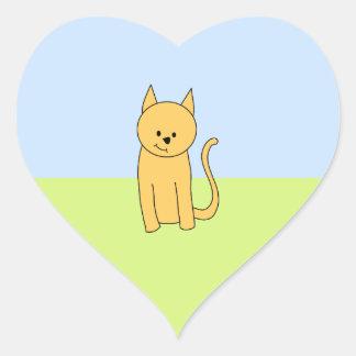 Gato lindo del jengibre pegatina en forma de corazón