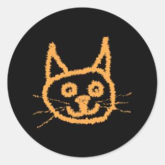 Gato lindo del jengibre pegatina redonda