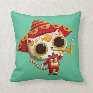 Gato lindo del mariachi mexicano del EL Cojín Decorativo