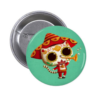 Gato lindo del mariachi mexicano del EL Pin Redondo 5 Cm