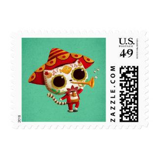 Gato lindo del mariachi mexicano del EL Sello Postal