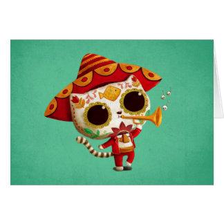 Gato lindo del mariachi mexicano del EL Tarjeta De Felicitación