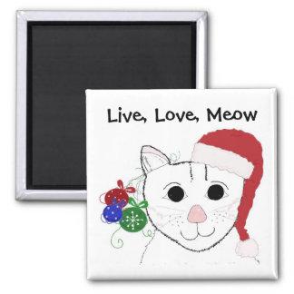 Gato lindo del navidad con decir imán cuadrado